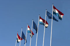 European flags. Luxembourg and European Union flags royalty free stock photography
