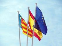 European flags. Three flags : European Union; Spanish; Valencia Community Royalty Free Stock Image