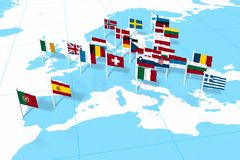European flags. On blue world map Royalty Free Stock Images