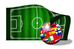 European flags ball on soccer field Royalty Free Stock Photography