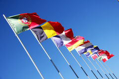 Portuguese and European flags Stock Photo