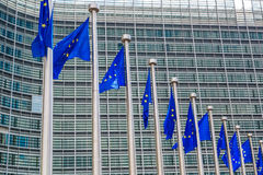 European flags  in Brussels Royalty Free Stock Photography