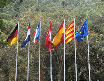 European flags. Different European flags flying outside stock image