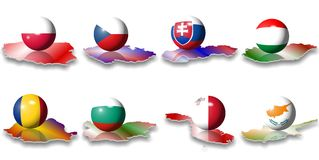 European flags east south east Royalty Free Stock Photography