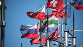 European flags on flagpoles developed in the wind stock video footage