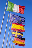 European Flags Flowing in the Wind Royalty Free Stock Image