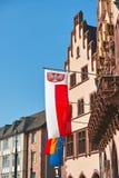 European Flags. Frankfurt, Germany - July 15, 2013: Flags of Germany, European Union and city of Frankfurt in front of Römer building in Frankfurt am Main Royalty Free Stock Image