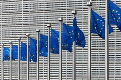 European Flags in front of the Berlaymont Building Royalty Free Stock Photography