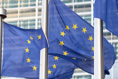 European flags in front  the Berlaymont building, headquarters  commission on Brussels. Stock Images