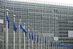 European flags in front of the Berlaymont building Royalty Free Stock Image
