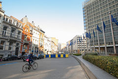 European flags in front of the European Commission headquarters in Brussels, Belgium Stock Photos