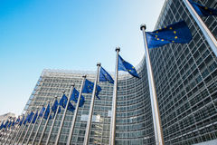 European flags in front of the European Commission headquarters in Brussels, Belgium Royalty Free Stock Image