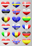 European flags heart Stock Photos