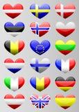 European flags heart Stock Photos