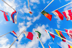 European flags on the Kirchberg Plateau in Luxembourg City Royalty Free Stock Photo