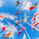 European flags on the Kirchberg Plateau in Luxembourg City Stock Image