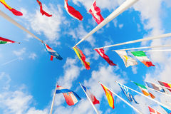 European flags on the Kirchberg Plateau in Luxembourg City Royalty Free Stock Image