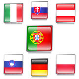 European  Flags Made as Web Buttons Stock Photography