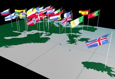 European Flags on Map (North view). Flags of European countries flying from their capital cities. Viewed from the North stock illustration