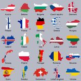European flags in map shape Royalty Free Stock Photography
