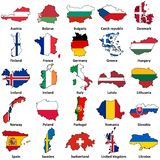 European flags in map shape on white Stock Photos