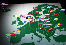 European Flags on Map (South view). Flags of European countries flying from their capital cities. Viewed from the South stock illustration
