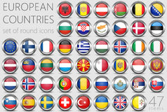 European Flags. Metal Round Icons Stock Photo