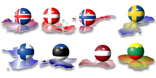 European flags north. Eight north European flags in a shape of a ball Royalty Free Stock Image