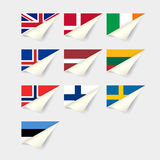 European flags. Northern Europe Royalty Free Stock Photo
