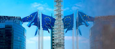 European flags outside EU headquarters in Brussels, Belgium. royalty free stock images