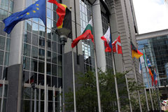 European Flags at Parlament in Brussels, Belgium Stock Photography