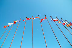 European flags. Row of european flags against blue sky background royalty free stock image