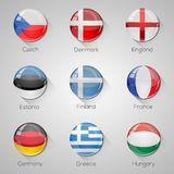 European flags set glossy buttons with long shadows. Stock Photo