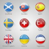 European flags set glossy buttons with long shadows. Stock Image