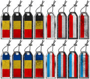 European Flags - Set of Grunge Metal Tags Stock Photography