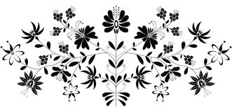 European folk floral pattern in black on white background  Royalty Free Stock Images