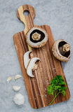 European food concept mushroom soup with champignon mushroom set. Up with brown background Stock Images