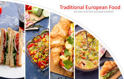 European food photo collage Royalty Free Stock Images