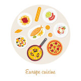 European food set. European cuisine. European food set Royalty Free Stock Photography