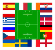 European football championship 2012. National team flags European football championship 2012. Flags from all 16 participating countries, sorted round an Royalty Free Stock Photo