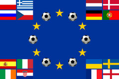 European football championship 2012. National team flags European football championship 2012. Flags from all 16 participating countries sorted according to Stock Image