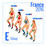European football championship in France Group E. Flat 3d vector isometric illustration. Stock Photography