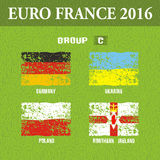 European football championship 2016 in France groups C. Vector illustration Royalty Free Stock Image