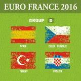 European football championship 2016 in France groups D. Vector illustration Stock Image