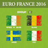 European football championship 2016 in France groups E. Vector illustration Royalty Free Stock Photography