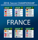 European football championship 2016 in France. Groups vector Royalty Free Stock Photography