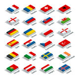 European football championship 2016 in France groups vector. Flat 3d isometric illustration. Royalty Free Stock Images