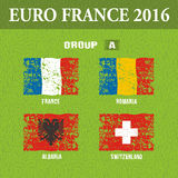 European football championship 2016 in France groups A. Vector illustration Royalty Free Stock Photo