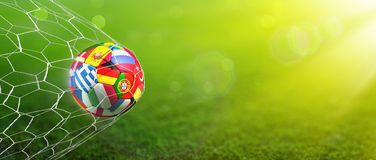 European Football Championship - Goal in the green background stock photography