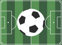 European football field and ball Stock Images